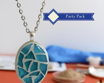 Do it yourself Holiday Jewelry Making Kit, DIY gift for women, Glass Mosaic Necklace Christmas Craft Kit 8-pack, Jewelry Mosaics DIY gift