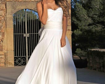 Boho wedding dress tulle, strapless wedding dress long, NYORD