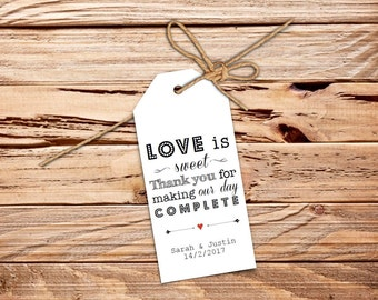 Love is Sweet Printable Gift or Favour Tags