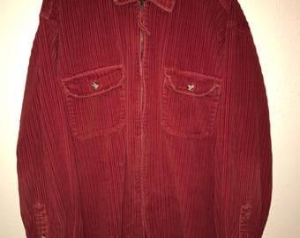 Red Corduroy Zipper Shirt