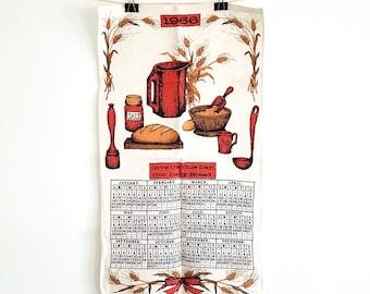 Vintage 1966 Linen Kitchen Towel / Calendar and Bread Making Design
