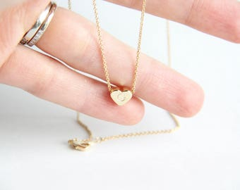 Gold heart necklace, initial necklace, friendship, sister mother daughter necklace, dainty, minimalist, family tree, bridesmaid,personalized