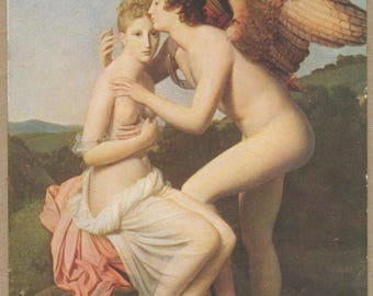 Psyche Betrothed | Winged Cupid God of Love | Antique 1910's French Postcard | Salon De Paris | Greek Myth | True Love | Divinity | Allegory