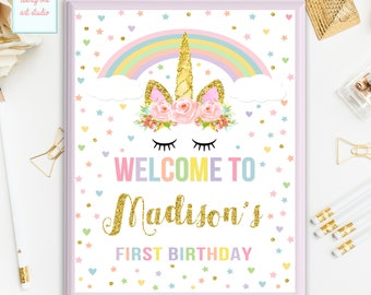Unicorn Welcome Sign, Birthday Welcome Sign, Personalized Birthday Welcome Sign, Magical Unicorn Printable Welcome Sign, ANY AGE