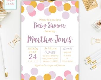 Confetti Baby Shower Invitation, Light Pink, Lavender and Gold Polka Dots Baby Shower Invitation, Printable Invitation