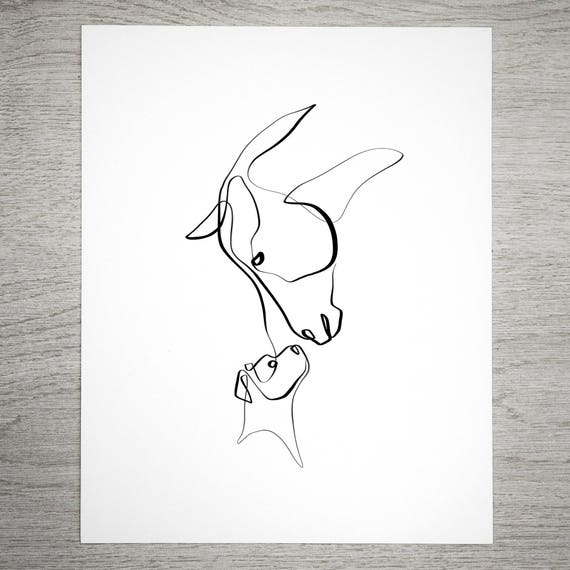 Single Line Box Art : Horse and dog one line art equine single