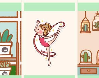 Cute Gymnastic Sticker, Cute girl planner sticker, Dance Sticker, Kawaii girl sticker (HF079)