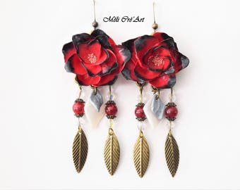 Red rose flower black beads charms Bronze earrings