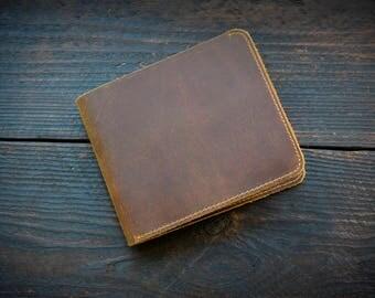 Vintage Mens Wallet, Brown Leather Wallet, Mens Gift, Slim Leather Wallet, Scratch Leather Wallet
