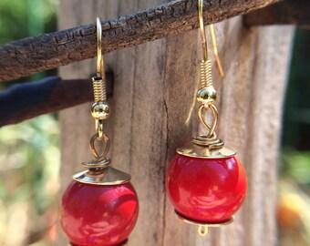 Bohemian Dangle Earrings w/ Jasper-colored Beads