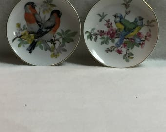 Set of 2 - Mini Bird and Flower Plates (#069)