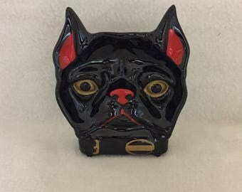 Black Dog Face with Red and Gold Highlighting Ash Tray (#225)