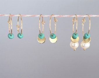 Minimalist Earrings Gold, Gold Hoops, Gold Filled Hoops, Gold Creoles, 15 mm 14k Gold Filled, Turquoise-Disc-Pearl Charms, Everyday Subtle