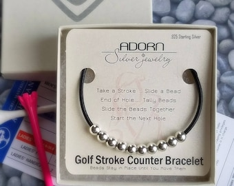 Golf Stroke Counter Bracelet, Black Leather, Round Sterling Silver, Score Keeper Beads, Gift for her, sports jewelry, Count-on-Me, golf gift