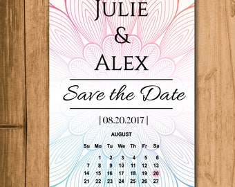 Save the Date Digital Download Printable Bohemian Flower