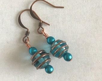 Turquoise Blue Dangles-Turquoise Blue Earrings-Bright Blue Dangle Earrings-Czech Glass Earrings-Bridesmaid's Gift-Handmade Earrings