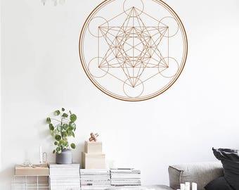 SACRED GEOMETRY Metatron's Cube alchemy geometric Wall Decal Line Circle Mandala