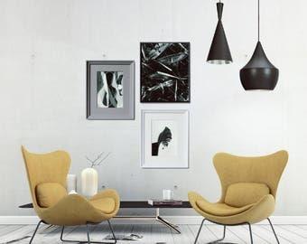 Scandinavian Printables Set, Botanical Gallery Wall, Tropical Leaf Printables, Large Printable Photo Decor, Large Leaf Printable Wall Decor
