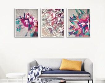 Flower Painting Print Set, Housewarming Gift Painting, Bedroom Art Prints Set, Modern Floral Art Prints Set, Modern Printable Wall Decor Set