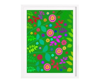 Garden Illustration Giclee print 21 x 29.7 cm