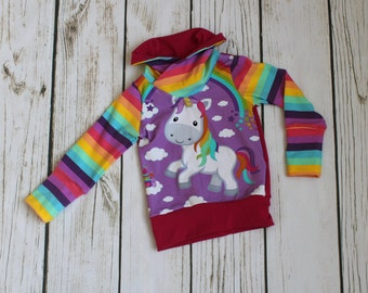 Grow with me children's sweater, cowl sweater for kids,bear, stretchy sweater, unicorn, rainbow, stripes, cotton lycra, grow fonder
