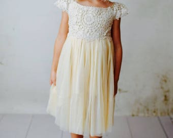 Flower Girl Dress, Flower Girl Lace Dress, Rustic Flower Girl, Vintage Flower Girl, Boho Flower Girl, Ivory Flower Girl Dress, Flower Girl