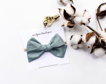 Dusty Blue Extra Large Knot Bow | sailor style, big baby bow, extra large hair bow, nylon headband bows, baby girl hair bows, big hair bows