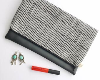 Gray and Black Hatched Fold Over Clutch