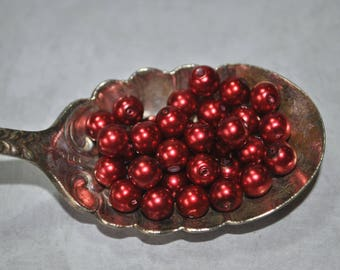 Sweet red glass pearls, destash, jewelry supplies