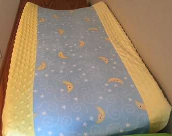 Minky Changing Pad Cover, Moon and Stars, Blue and Yellow, Changing Pad Cover, Baby Shower Gift, Bassinet Sheet, Baby Branch Boutique