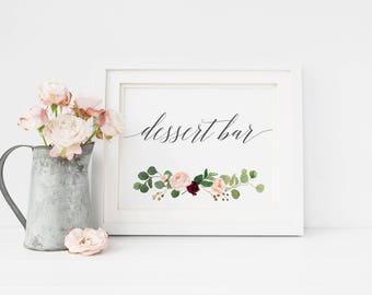Greenery Dessert Table Sign, Printable Wedding Party Sign, Dessert Bar Sign, Candy Bar Sign, Wedding Sign, Wedding Printables   #MG001