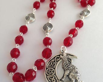 Wolf Moon Pagan Rosary // Prayer Beads // Pentacle // Wiccan // Celtic