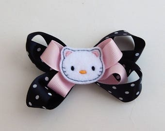 HelloKitty inspired stacked boutique bow/kitten boutique bow