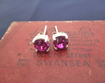 Pretty pink stud earrings - Pink CZ studs - 925 - sterling silver - Sparkly pink studs