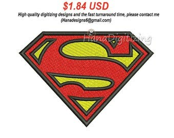 Superman Logo Machine Embroidery Design 5 Sizes