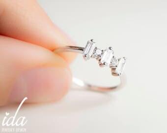 Emerald Cut Engagement Ring - Baguette Ring - Cubic Zirconia Engagement Ring - Sterling Silver Engagement Ring - Sterling Silver Ring