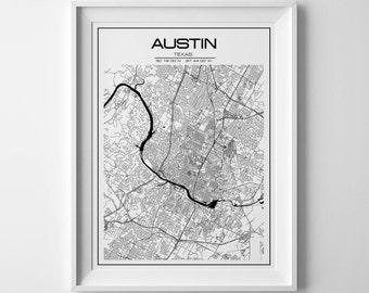 Austin Map Print, Austin Map Poster, United States Map, Austin Map, Austin Texas Map,Austin, Texas Map, Austin Texas Black and White Map
