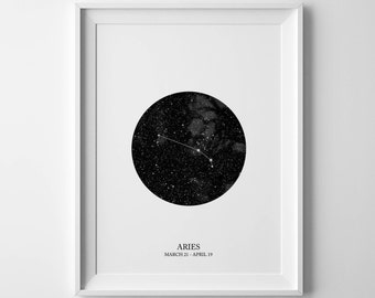aries print, zodiac print, constellation print, astrology print, aries poster, aries wall art, zodiac constellation, aries zodiac, aries art