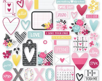 Love & Adore - Bits and  Pieces, 47 Cardstock Die-Cuts from Simple Stories
