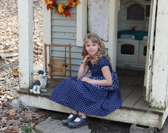 Navy Polkadot and Floral Peasant Dress