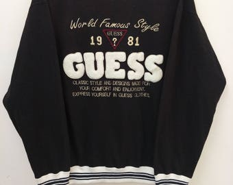 Vintage GUESS Sweatshirt//Biggest Spell Out Embroidered Ringer//Size M//Made In USA//George Marciano