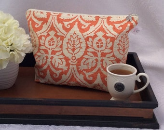 Orange and White Floral Oversized Knitting Project Bag