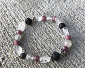 Handmade Lepidolite Bracelet Crystal Bracelet Stress Relief Bracelet Que Sera Bracelet Healing Bracelet