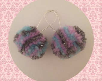 Pom Pom Earrings In Blue, Grey And Purple. Look Cool At Festivals