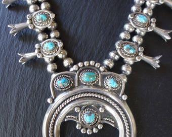 Squash blossom necklace, 200 grams, Persian turquoise and signed by Ronnie Hurley.