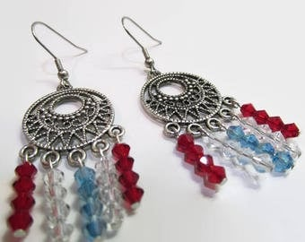 Patriotic Earrings, Chandelier Earrings, Red white and Blue, Independence Day ,Beaded Earrings, 4th of July, Dangle Earrings, Gift for Her