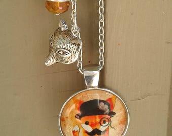 Fab Fox Necklace with Charm and Swarovski Crystal