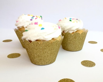 Gold Glitter Cupcake Wrappers, Cupcake Wrappers, Glitter Cupcake Wrappers, Gold Cupcake Wrappers, Gold Party Decor, Dessert Table Decor