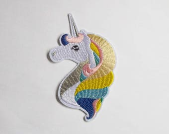 Unicorn iron on patch, White and rainbow fantasy animal sew on applique, Embroidered cute kawaii thermo adhesive fabric for clothing