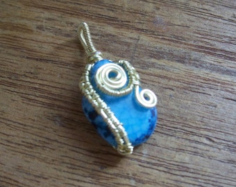 Wire Wrapped Blue Agate Pendant Champagne Copper Spiral Weave OOAK